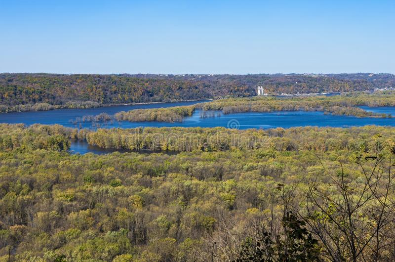 Wisconsin and Mississippi Rivers Confluence at Wyalusing. Confluence of mississippi and wisconsin rivers viewed from atop bluffs of wyalusing state park in royalty free stock photos