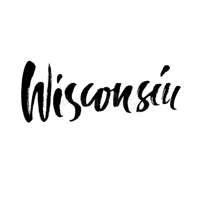 wisconsin Moderno seque las letras del cepillo Impresión retra de la tipografía Inscripción manuscrita del vector Estado de los E ilustración del vector
