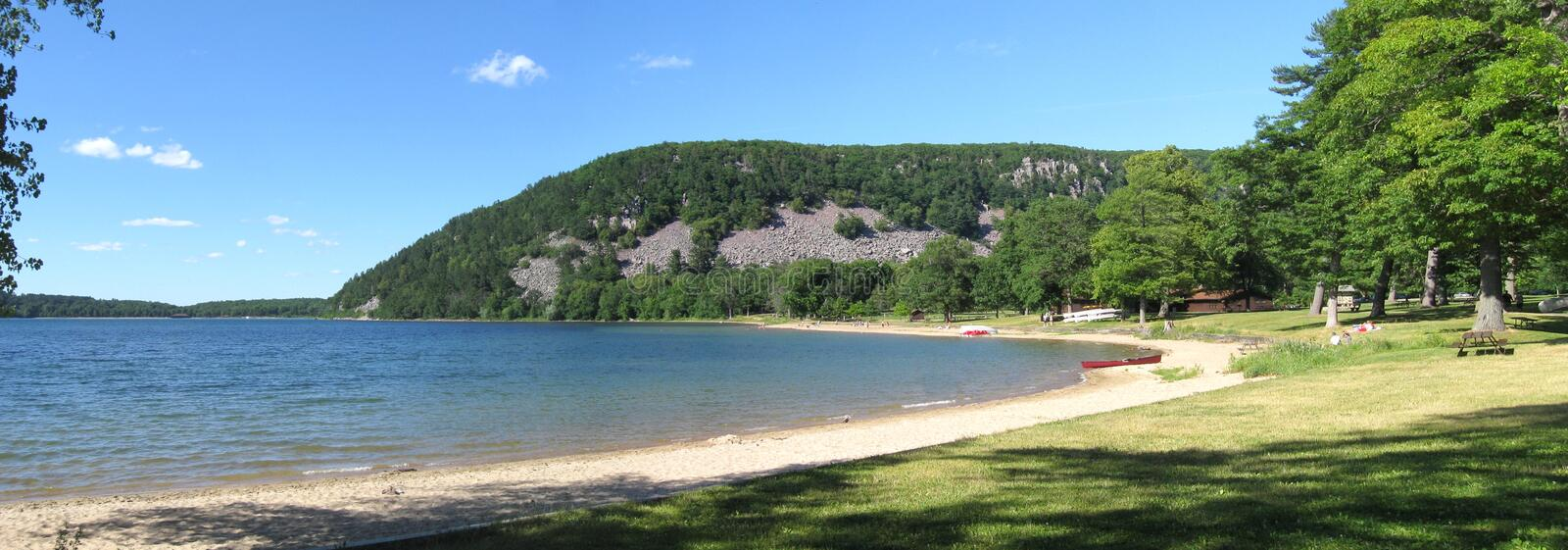 Wisconsin nature. Panorama of Devils Lake State Park in Wisconsin. The lake was created by the ice age stock photo
