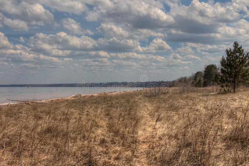 Wisconsin Point in Superior, Wisconsin is on the shore of Lake S. Uperior royalty free stock photo