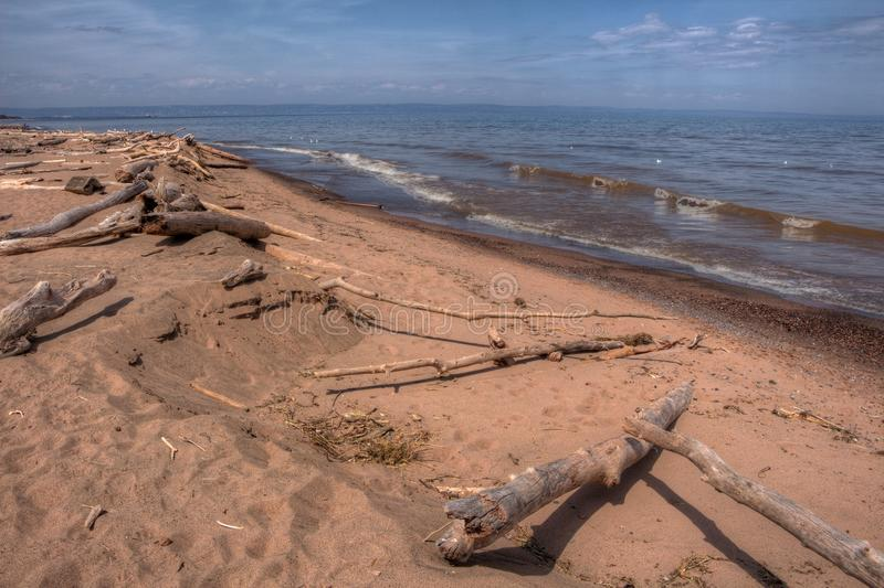 Wisconsin Point in Superior, Wisconsin is on the shore of Lake S. Uperior stock photos