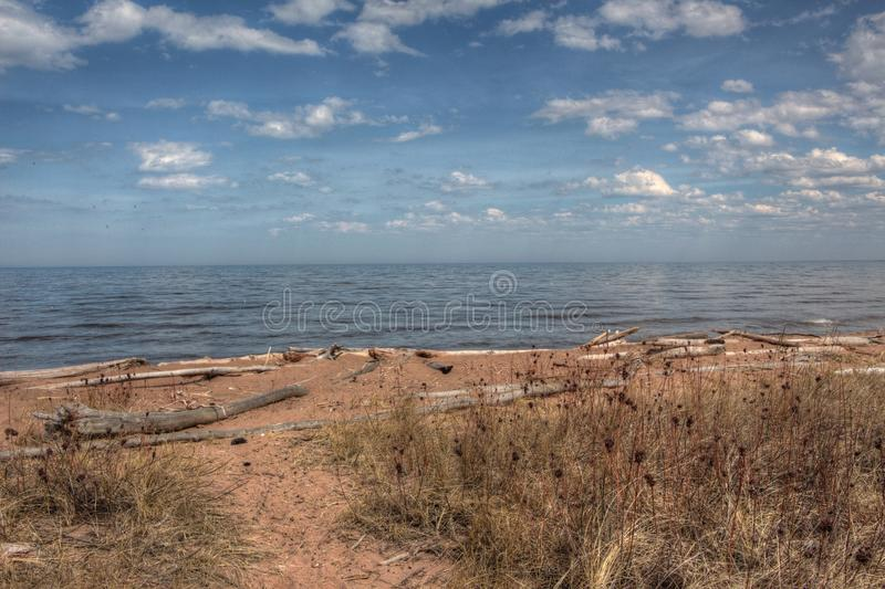 Wisconsin Point in Superior, Wisconsin is on the shore of Lake S. Uperior royalty free stock photography