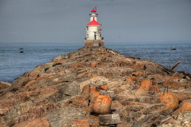 Wisconsin Point in Superior, Wisconsin is on the shore of Lake S. Uperior royalty free stock images
