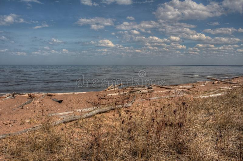 Wisconsin Point in Superior, Wisconsin is on the shore of Lake S. Uperior stock photography