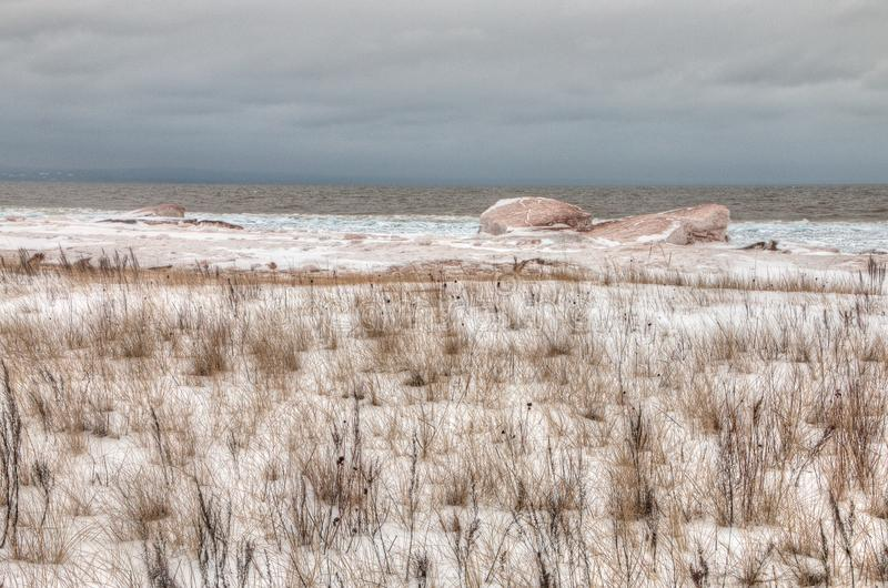 Wisconsin Point in Superior, Wisconsin is on the shore of Lake S. Uperior royalty free stock image