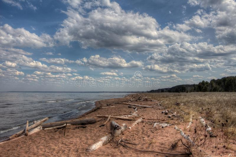 Wisconsin Point in Superior, Wisconsin is on the shore of Lake S. Uperior stock photo