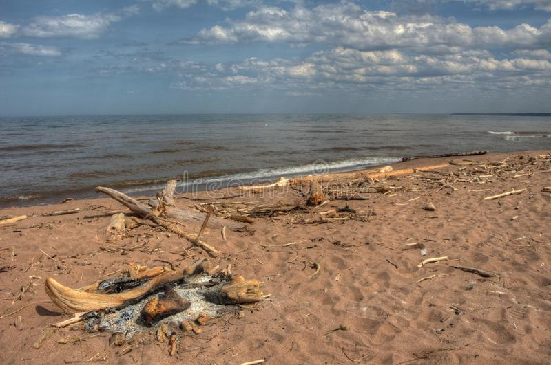 Wisconsin Point in Superior, Wisconsin is on the shore of Lake S. Uperior stock image