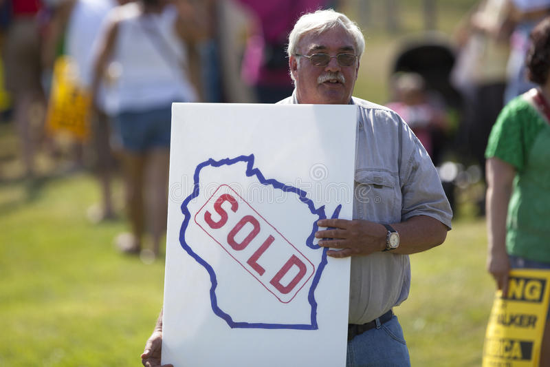 Wisconsin regulator Scott Walker Presidential Announcement Protes fotografering för bildbyråer
