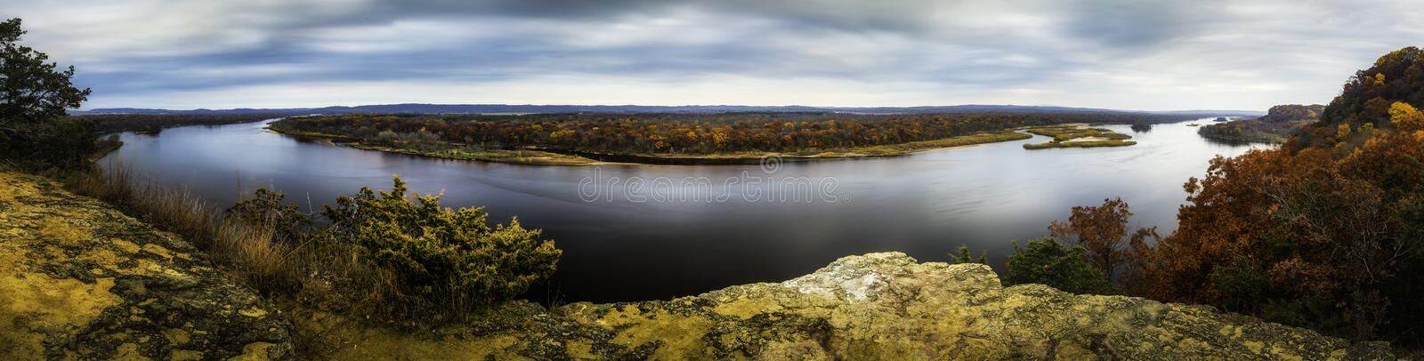 Wisconsin River. The Wisconsin River from Ferry Bluff stock photography