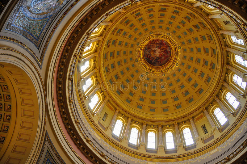 Wisconsin State Capital. Looking up from the ground floor of the Wisconsin State Capital building into the beautiful magnificent dome royalty free stock images