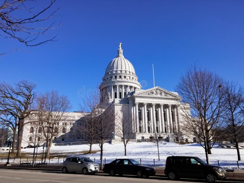 The Wisconsin State Capitol, in Madison, Wisconsin, United States. Governor Office and Supreme Court. Winter and snow view royalty free stock images