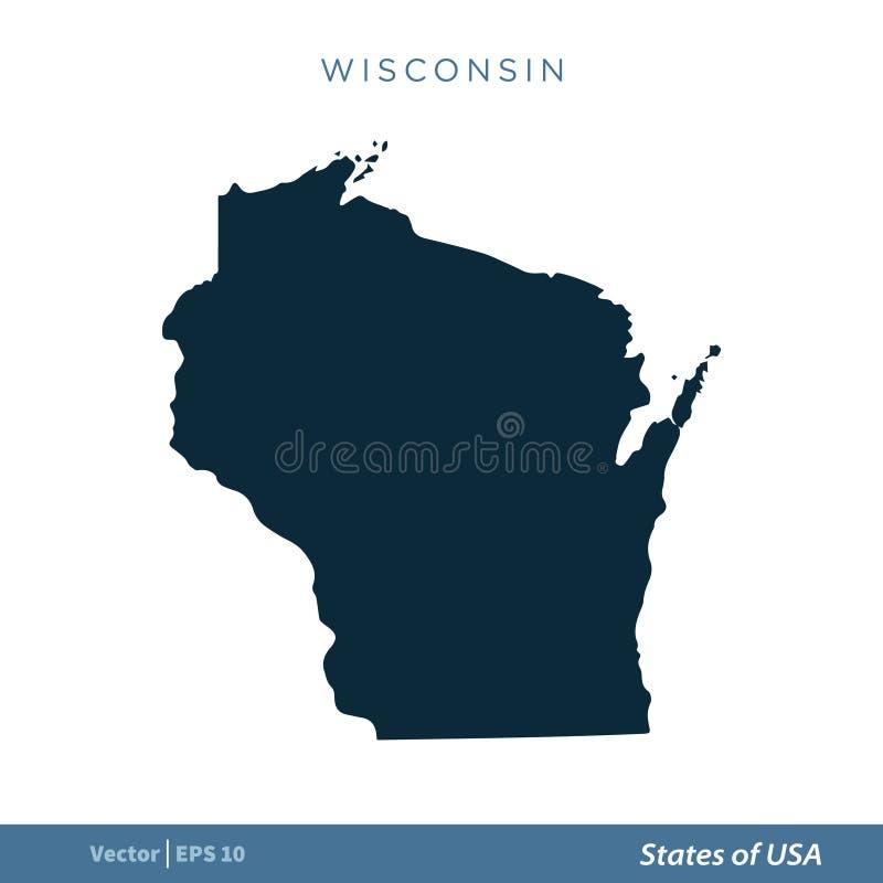 Wisconsin - Staten van van het de Kaartpictogram van de V.S. Ontwerp van de het Malplaatjeillustratie het Vector Vectoreps 10 stock illustratie