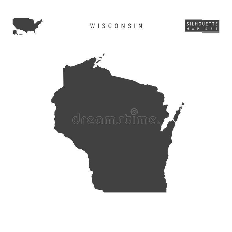 Wisconsin USA påstår vektoröversikten som isoleras på vit bakgrund Hög-specificerad svart konturöversikt av Wisconsin stock illustrationer