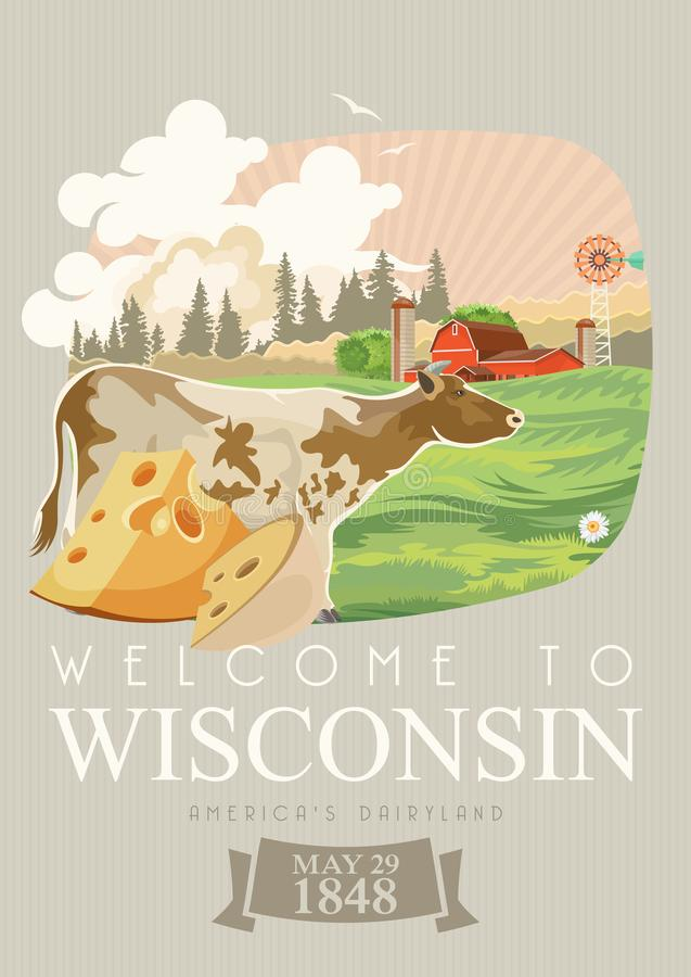 Wisconsin vector illustration. American dairy country. Travel postcard. vector illustration