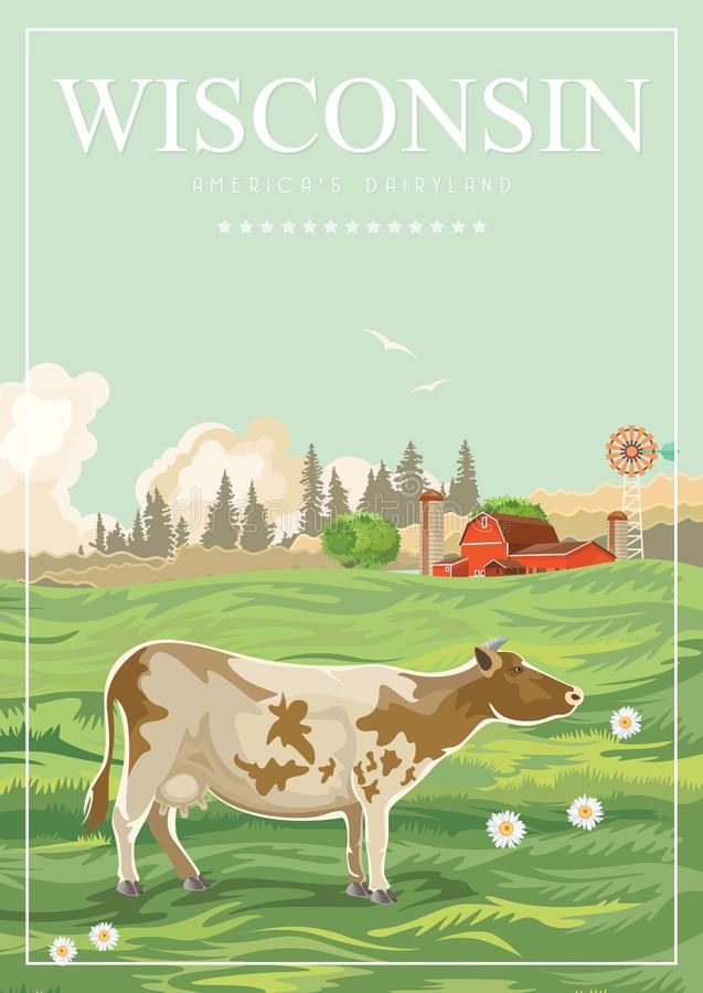 Wisconsin vector illustration with farm. Americas dairy country. Travel postcard. stock illustration