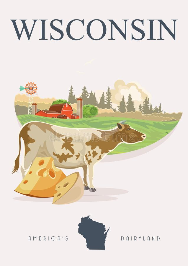 Wisconsin vector illustration with Wisconsin map. Americas dairy country. Travel postcard. vector illustration