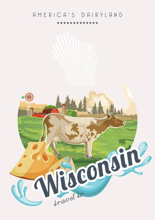 Wisconsin-Vektorillustration im Retrostil Amerika-Molkereiland Reisepostkarte lizenzfreie abbildung