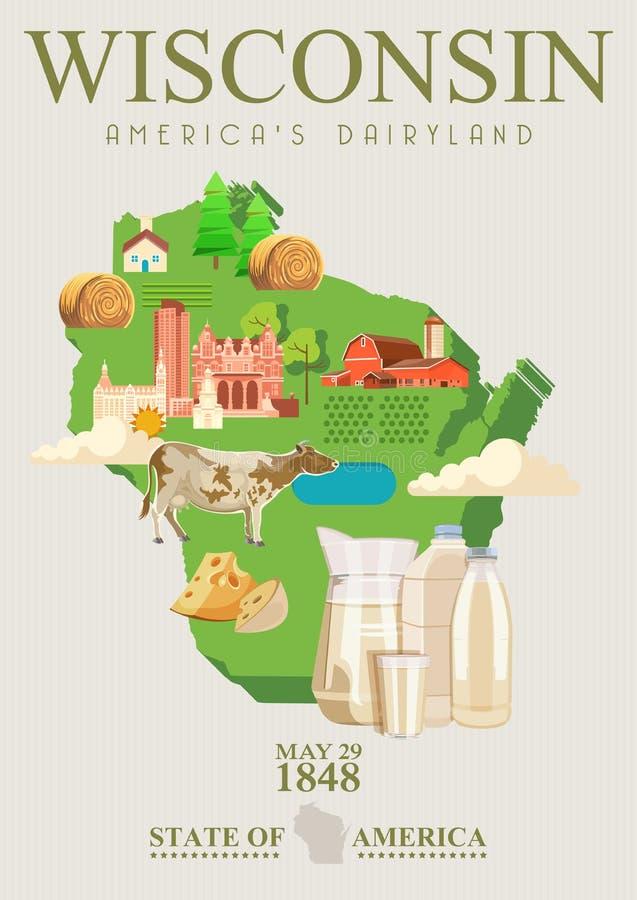 Wisconsin vektorillustration med den statliga översikten Americas mejeriland Loppvykort royaltyfri illustrationer