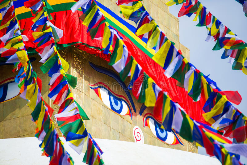 The Wisdom eyes on Boudhanath stupa. Landmark of Kathmandu , Nepal stock photo