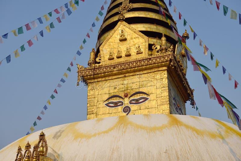 The wisdom eyes, Swayambhunath Monastery. Nepal royalty free stock image