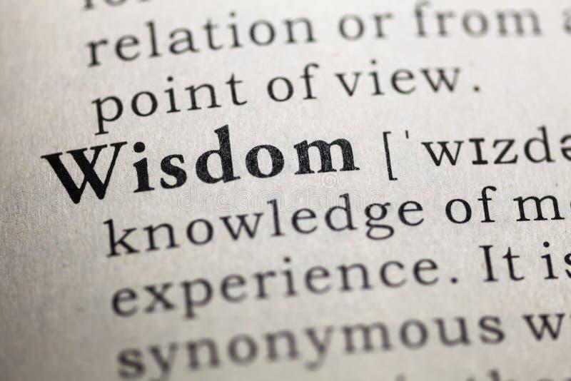 Wisdom. Fake Dictionary, Dictionary definition of the word Wisdom. including key descriptive words royalty free stock photos