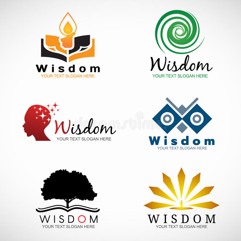 Wisdom and knowledge logo vector set design royalty free illustration