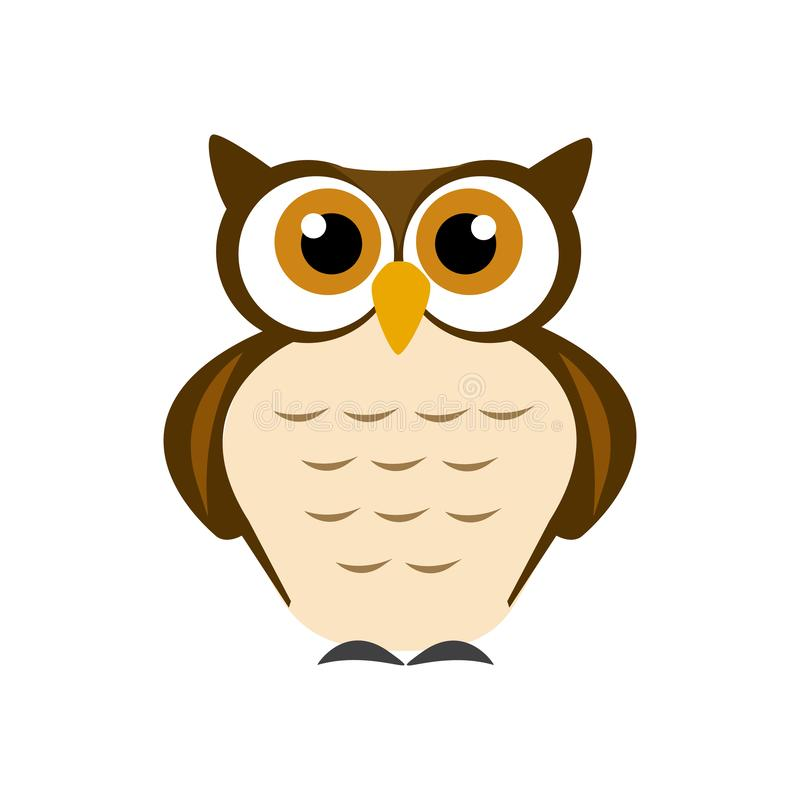 Wise brown owl on white background. Wise brown owl. Abstract vector design. AI format available stock illustration