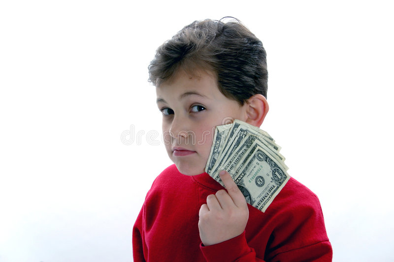 Wise Guy. An image of kids and money. Use to illustrate parenting, allowance, budgeting, college education, etc stock photography