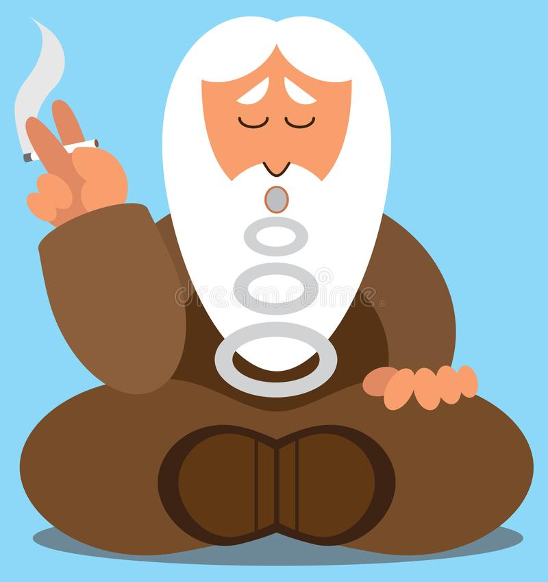 Wise Man on Break. A flat vector cartoon wise man is taking a cigarette break stock illustration