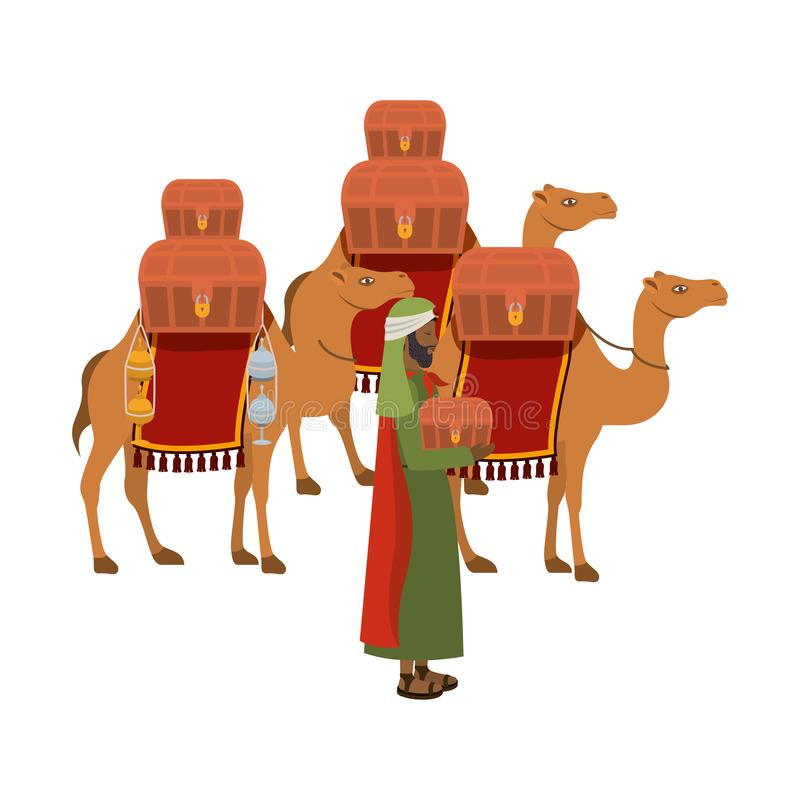 Wise man with camels manger character. Vector illustration design vector illustration