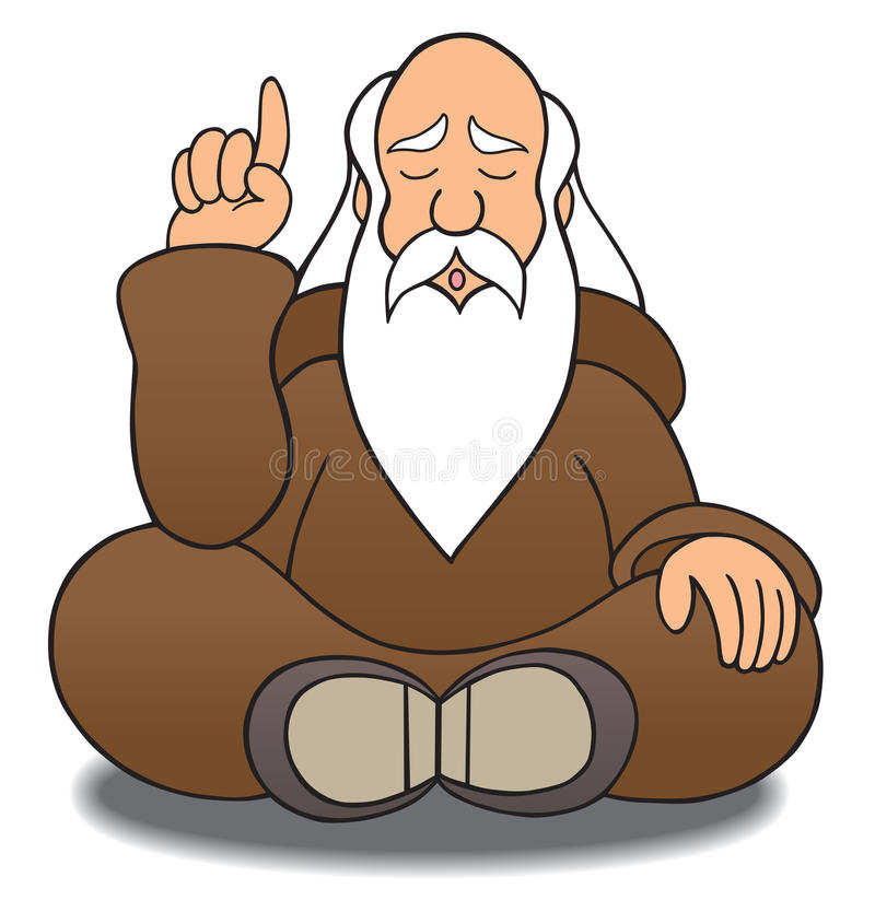 Wise Man. Guru handing out sage advice stock illustration