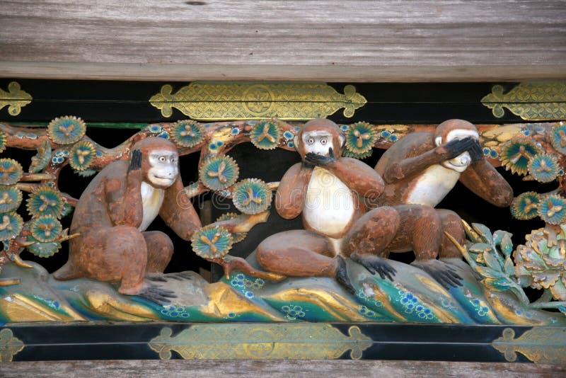 Wise monkeys stock photos