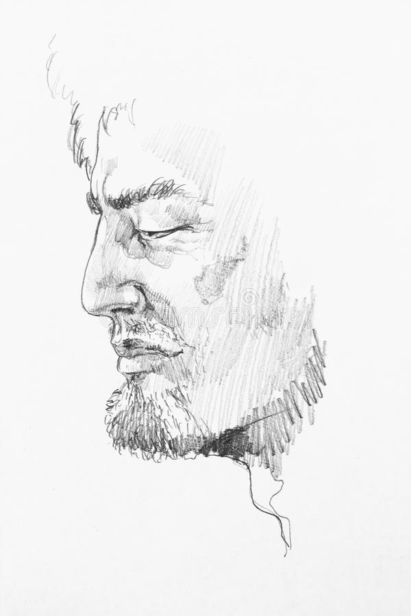 Wise old caucasian man pencil abstract sketch portrait royalty free illustration