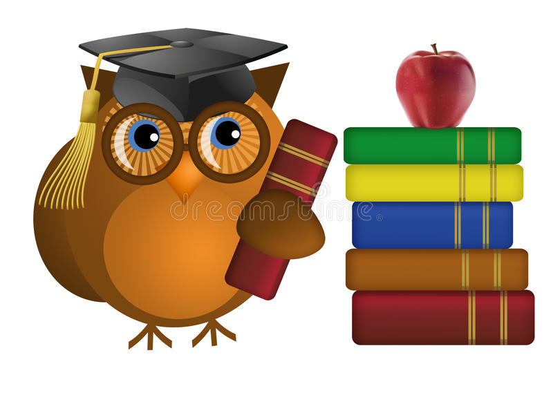 Wise Old Owl with Books royalty free illustration