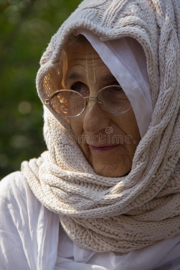 Wise old woman stock image