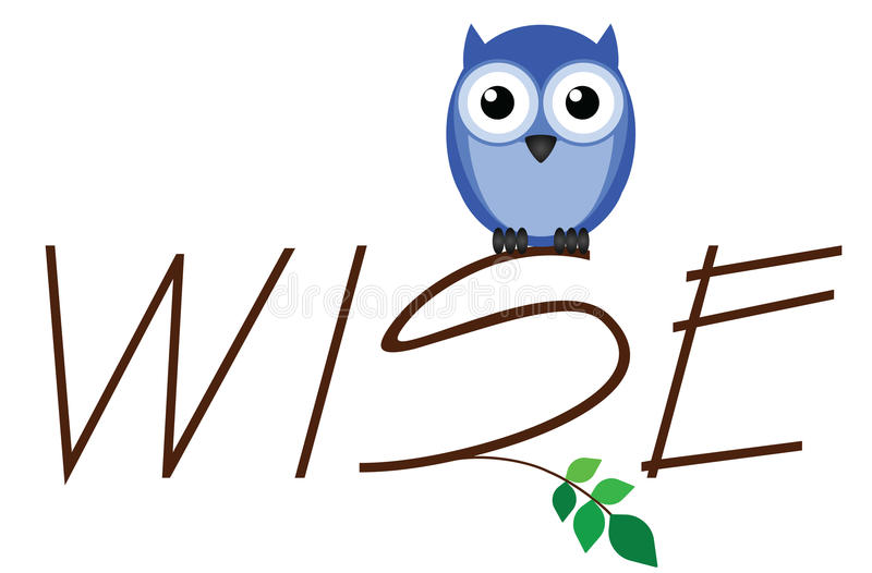 Wise owl. Twig text isolated on white background royalty free illustration