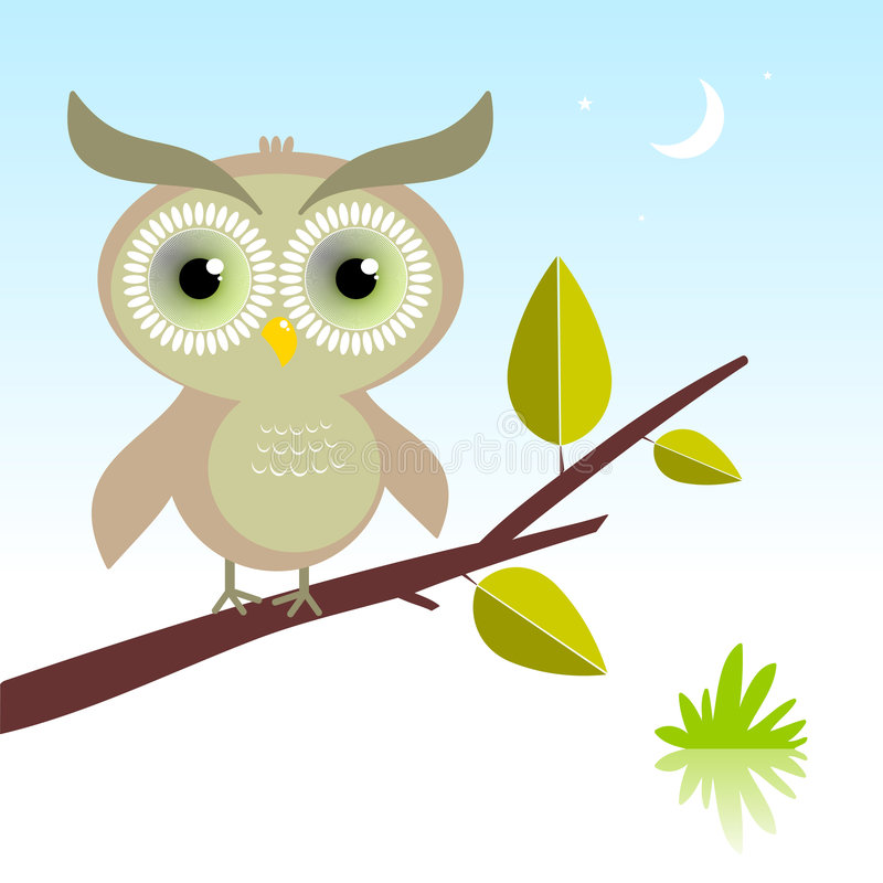 Wise Owl bird. Vector illustration of a cute owl, with hypnotic green eyes, sitting in the night vector illustration