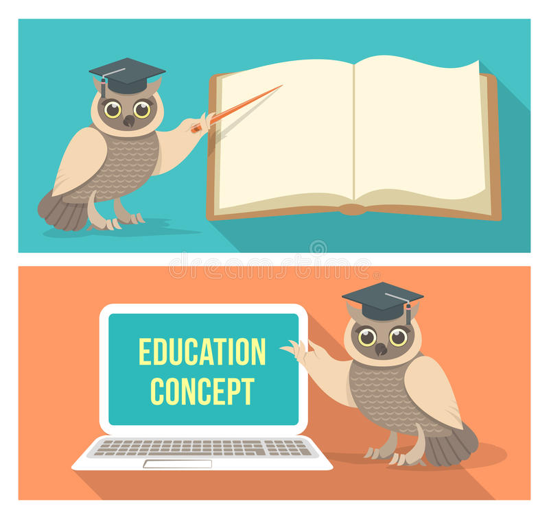 Royalty Free Vector Download Wise Owl With Book And Laptop Stock