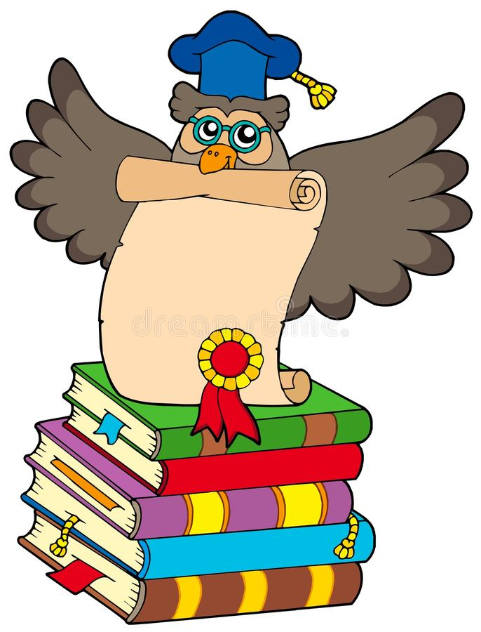 Wise owl with diploma and books royalty free illustration