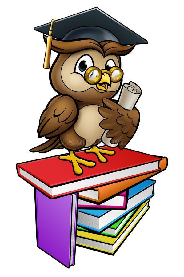 Wise Owl Graduate Teacher Cartoon Character vector illustration