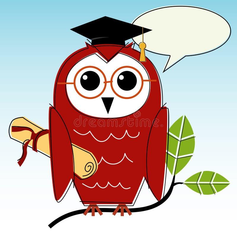 Wise Owl Graduation stock vector. Illustration of retro ...