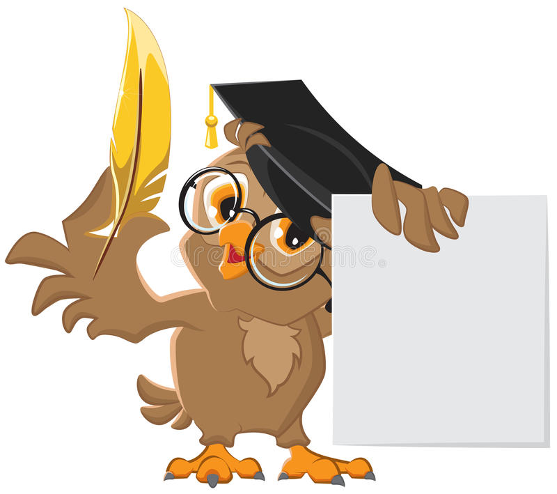 Wise owl holding a golden pen and a sheet of paper vector illustration