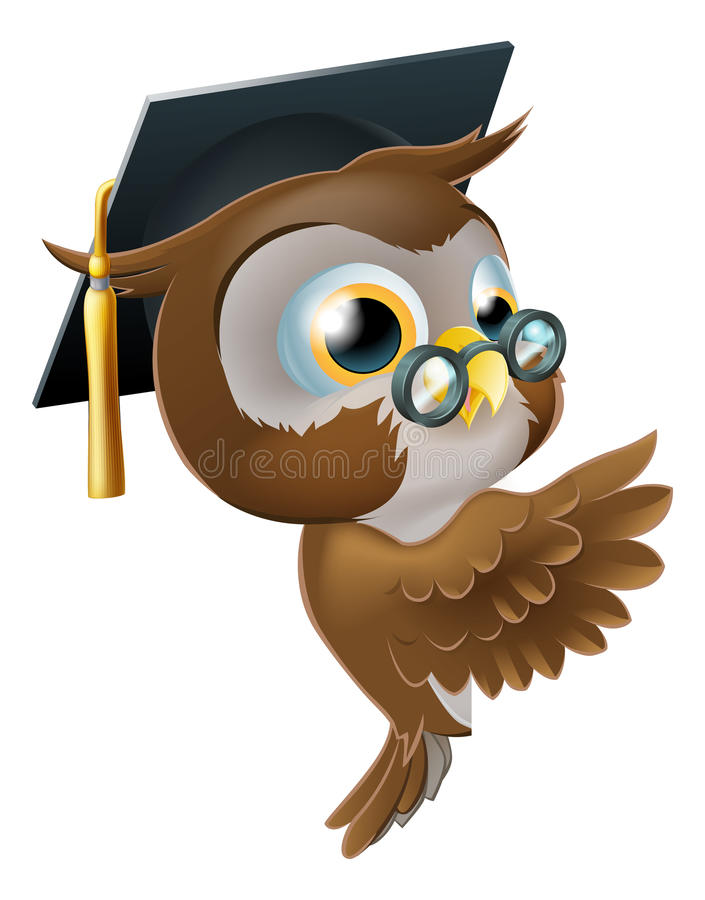 Wise Owl Pointing Sign royalty free illustration
