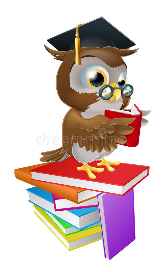 Wise owl reading vector illustration