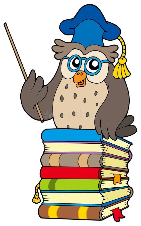 Wise owl teacher on books stock vector. Illustration of ...