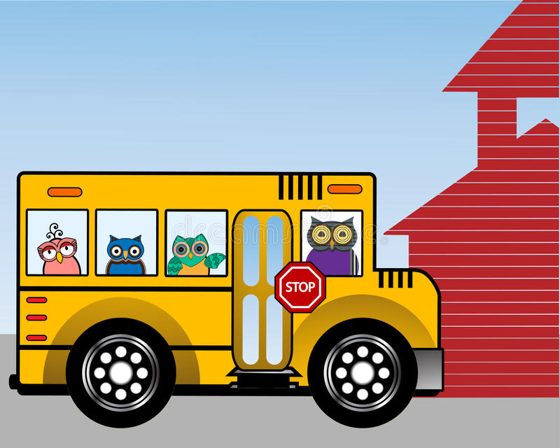 Wise owls in a school bus stock illustration