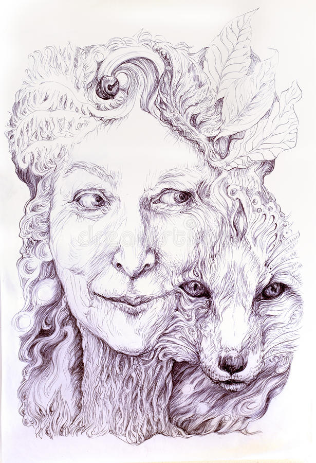 Wise shamanic woman forest goddess, with a second nature of a fox. Beautiful monochromatic detailed linear drawing, with leaves and ornamental structures, eye stock illustration