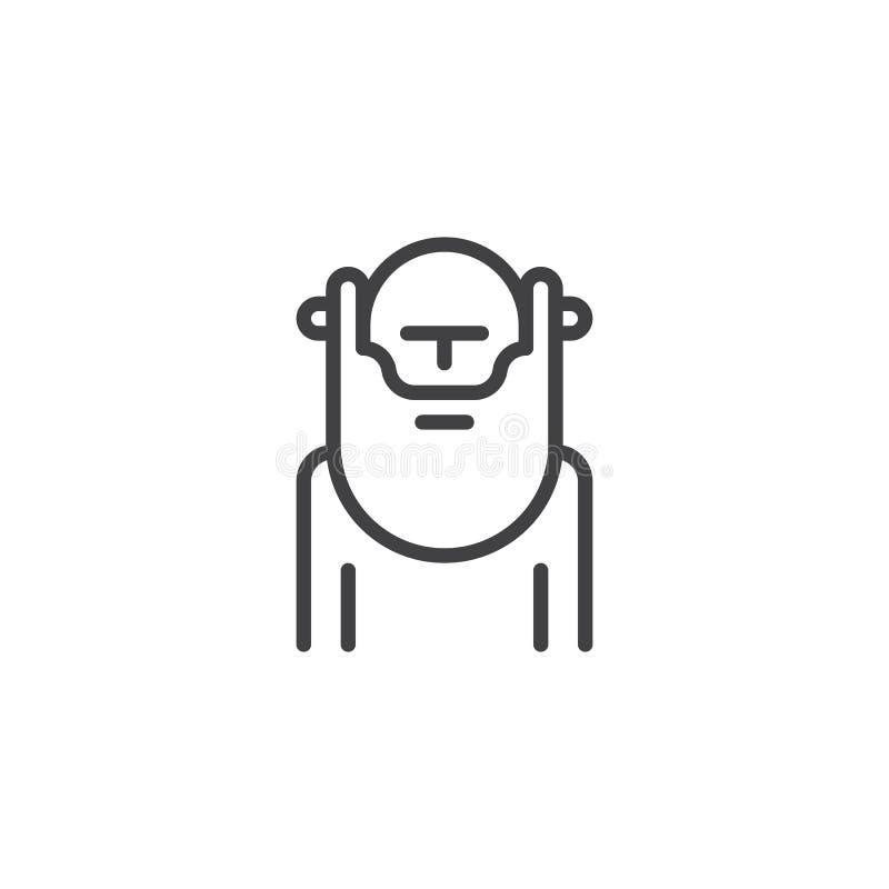 Wiseman con el icono del esquema de la barba libre illustration