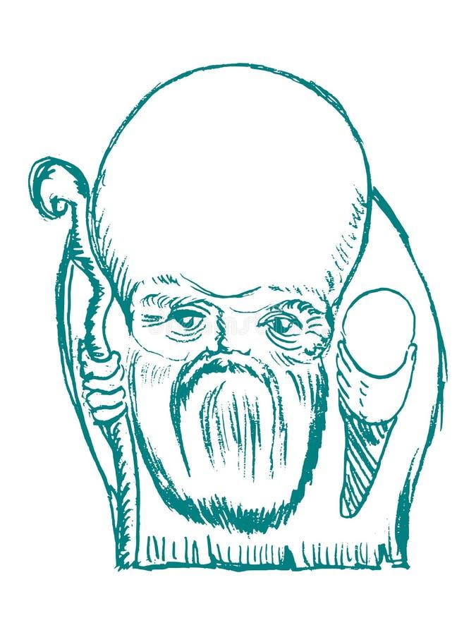 Wiseman de tao do chinês ilustração do vetor