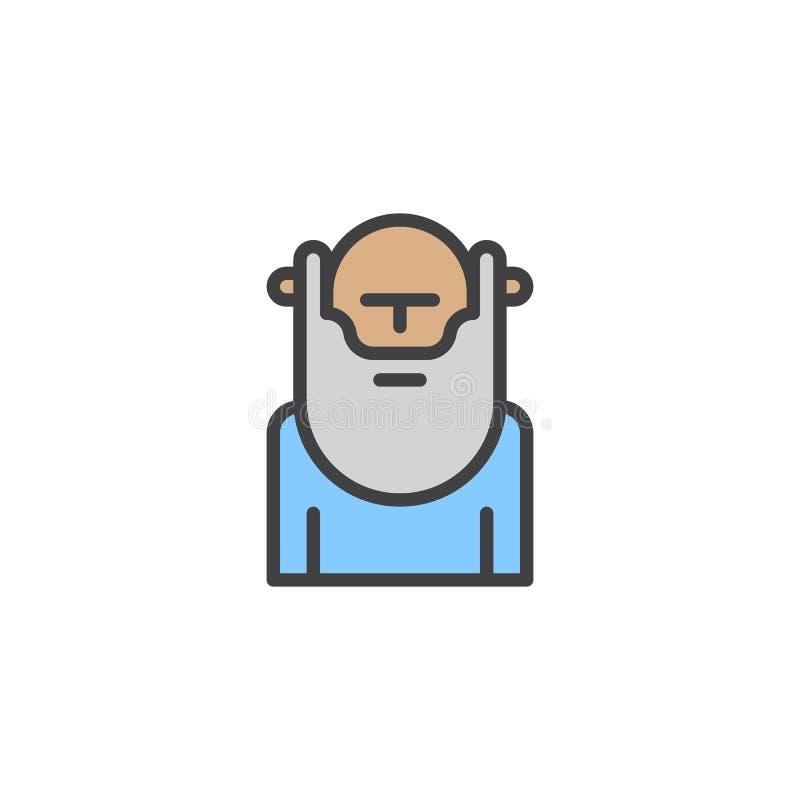 Wiseman z broda wypełniającą kontur ikoną royalty ilustracja